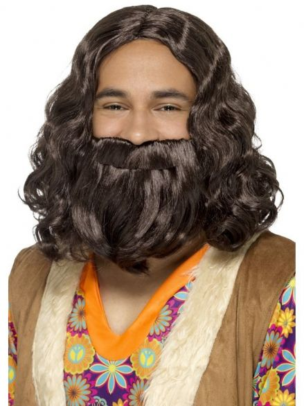 1960's Hippie Wig & Beard Set